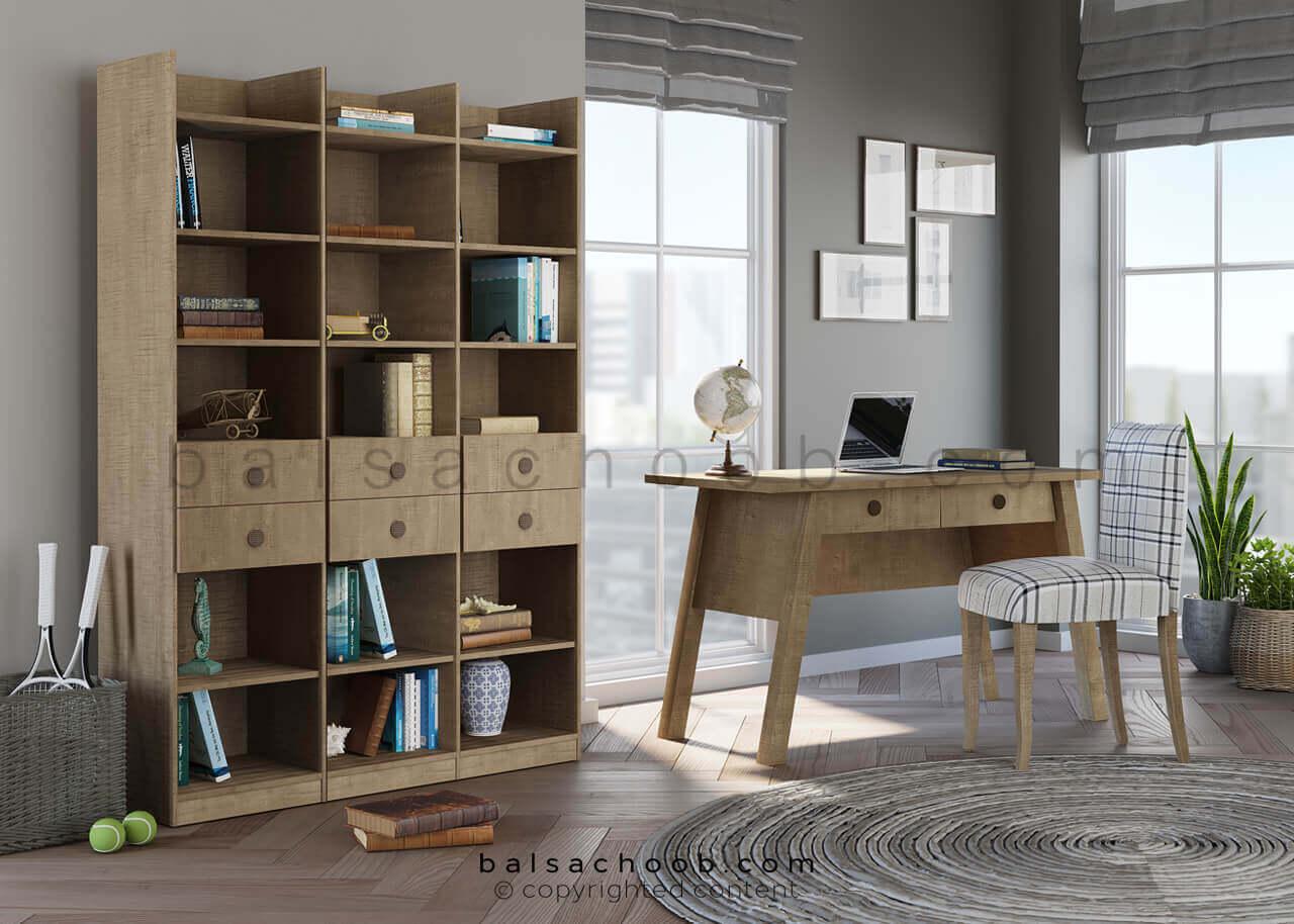میز کار و کتابخانه