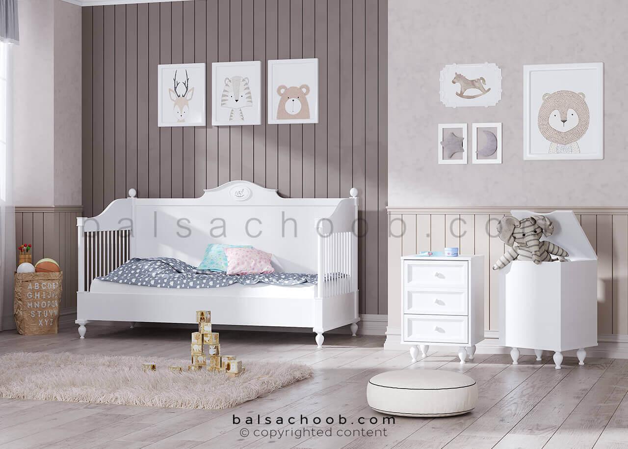 تخت نوزادی تبدیل شو سرویس خواب نوزاد بالسا مدل پونی