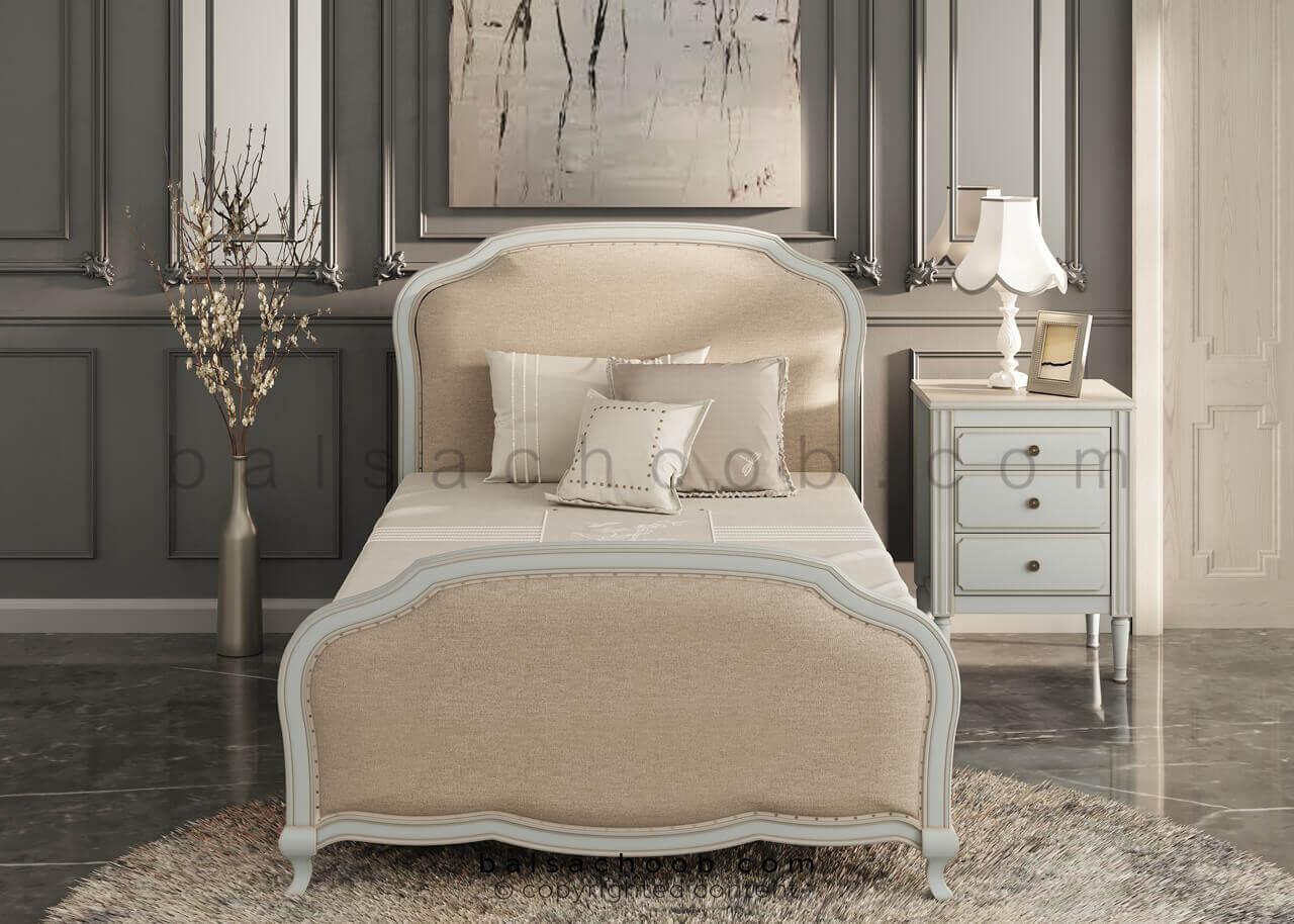 تخت خواب و پاتختی چوبی