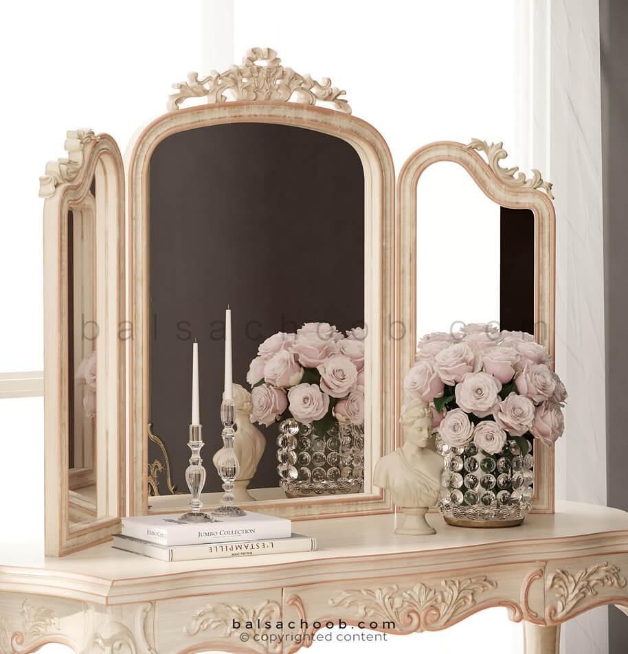 میز آرایش با آینه سه تکه