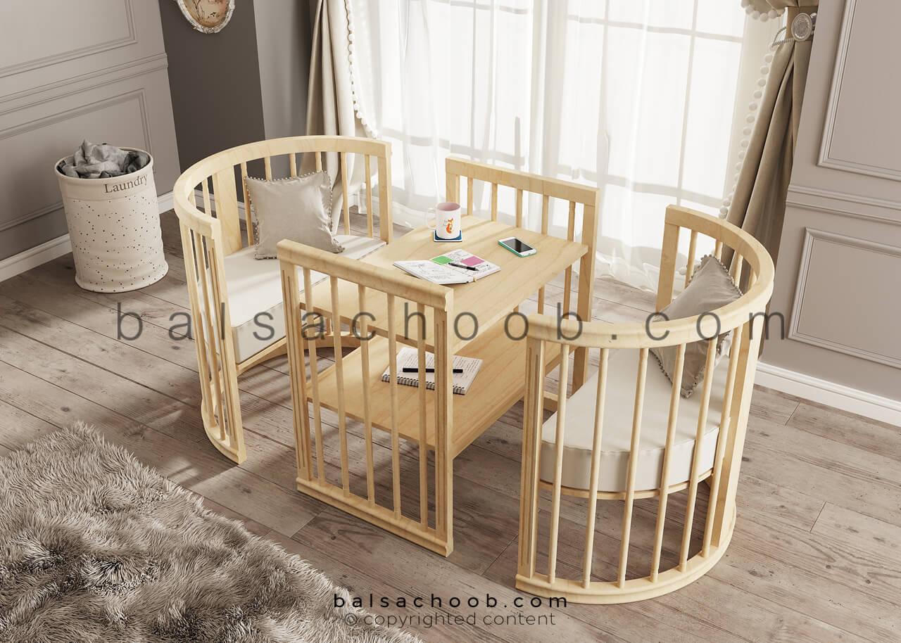 تخت نوزاد و کودک چوبی